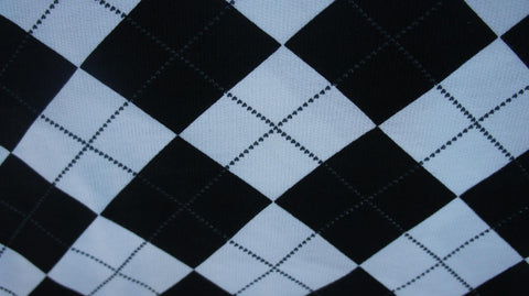Black & White Argyle on Cotton French Terry Knit Fabric