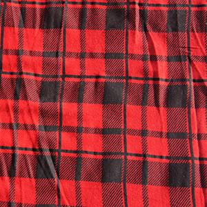 Red & Black Plaid Checkered Poly Rayon Lycra Jersey Knit Fabric