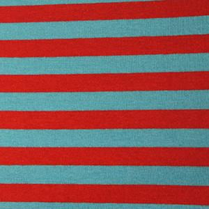 Red & Turquoise Blue Seuss Inspired Yarn-Dyed Stripes on Cotton Lycra Knit Jersey Fabric