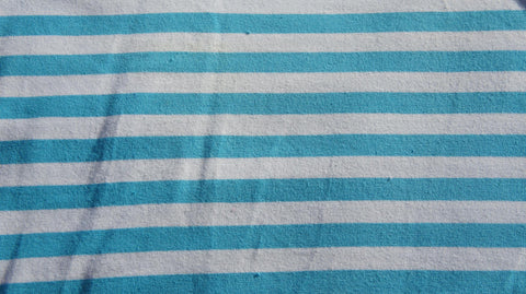 Aqua Blue & White Yarn-Dyed Stripes on Cotton Lycra Jersey Knit Fabric