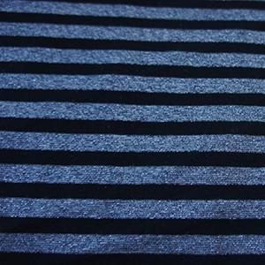 Black & Silver Yarn-Dyed Stripes with Lurex on Poly Rayon Lycra Knit Jersey Fabric