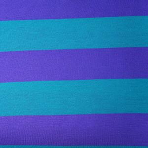 Purple & Teal Blue Wide Yarn-Dyed Stripes on Poly Rayon Lycra Jersey Knit Fabric