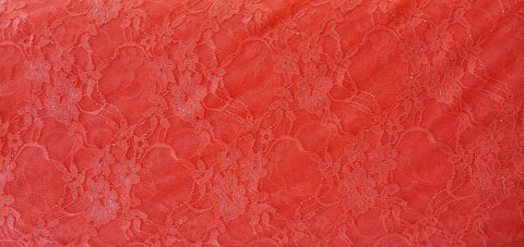 Coral Floral Elegant Stretch Lace Knit Fabric