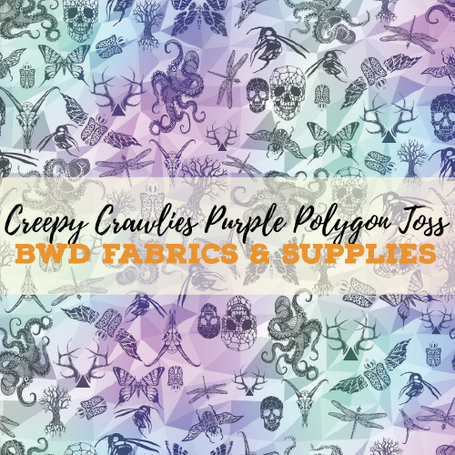 BWD Exclusive - Creepy Crawlies Purple Polygon Toss on Cotton Spandex Jersey Knit Fabric