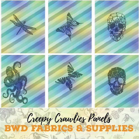 BWD Exclusive - Creepy Crawlies Panels on Cotton Spandex Jersey Knit Fabric
