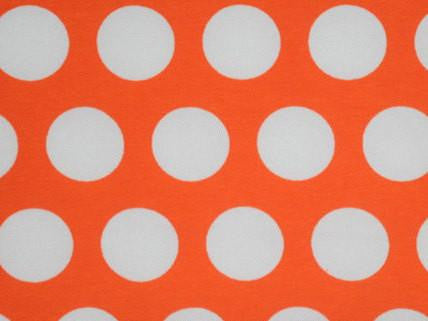 Big White Polka Dots on Orange Cotton Lycra Knit Jersey Fabric