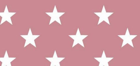 Euro Print White Stars on Rose Cotton Spandex Jersey Knit