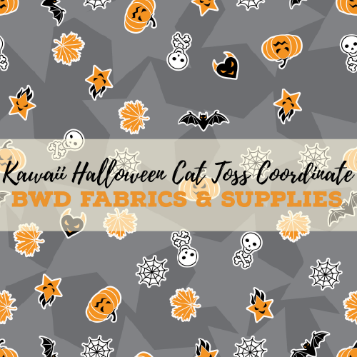 BWD Exclusive - Kawaii Halloween Cat Toss Coordinate on Grey Cotton Spandex Jersey Knit Fabric