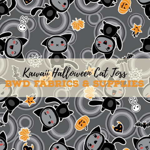 BWD Exclusive - Kawaii Halloween Cat Toss on Grey Cotton Spandex Jersey Knit Fabric