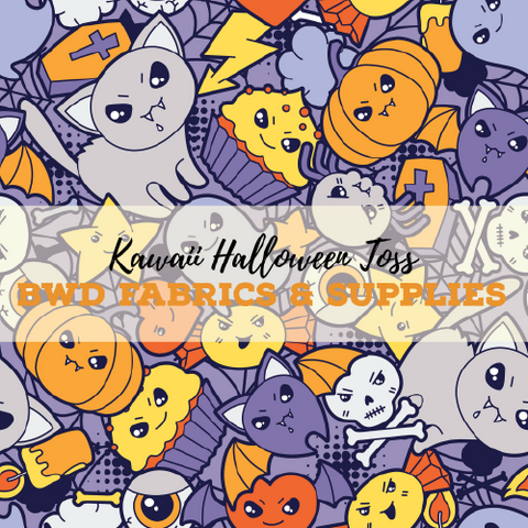 BWD Exclusive - Kawaii Halloween Toss on Cotton Spandex Jersey Knit Fabric