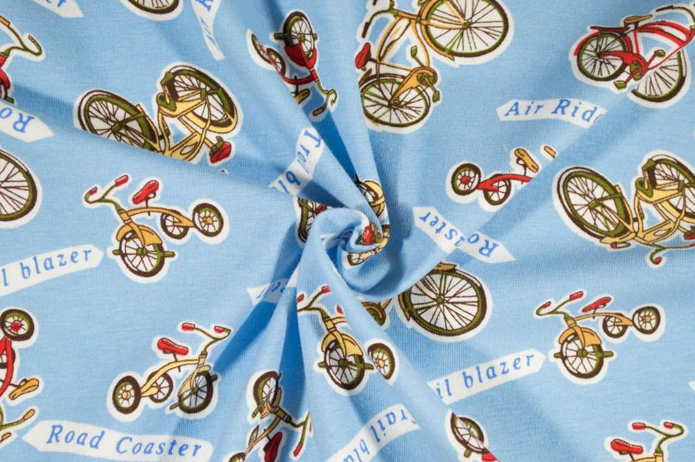 Transportation - Bicycles on Light Blue Cotton Spandex Knit Fabric