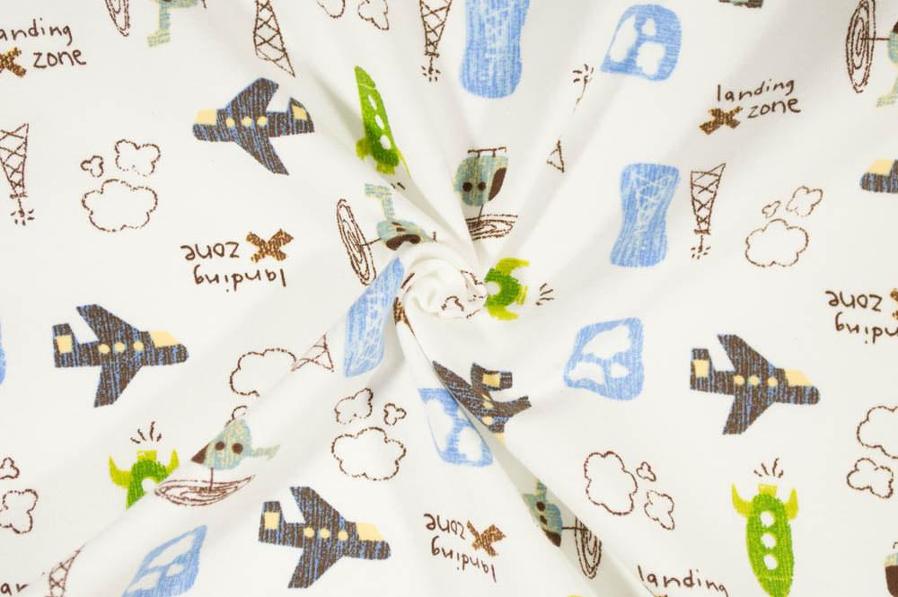 Transportation - Space Travel Planes and Helicopters on Cream Cotton Spandex Knit Fabric