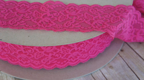 10 Yards Pink Dream 2 7/8 Inch Wide Stretch Lace Trim