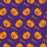 Halloween Boo Pumpkins on Purple Cotton Lycra Knit Jersey Fabric