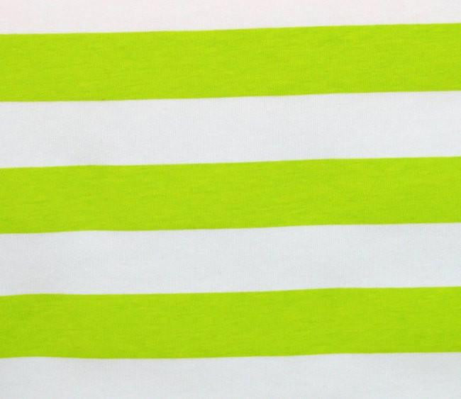 Key Lime Green and White 1 Inch Wide Stripes Cotton Lycra Knit Jersey Fabric