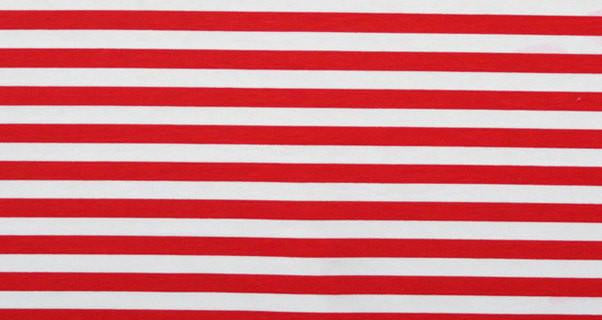 Red and White Half Inch Stripes Cotton Lycra Knit Jersey Fabric
