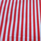 Red and White Narrow Stripes on Polyester Microfiber Boardshort Swim Fabric
