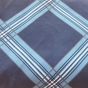 Aqua Blue and White Lattice Criss Cross Lines on Navy Blue Polyester Microfiber Boardshort Swim Fabric
