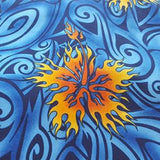 Fire Hibiscus Flowers on Blue Polyester Microfiber Boardshort Swim Fabric