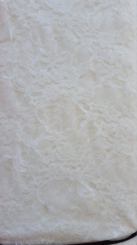 Ivory White Floral Elegant Stretch Lace Knit Fabric