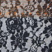Black Floral Lace on White Polyester Lycra Jersey Knit Fabric