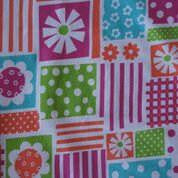 Fuchsia Green and Orange Floral Blocks on White Cotton Lycra Jersey Knit Fabric
