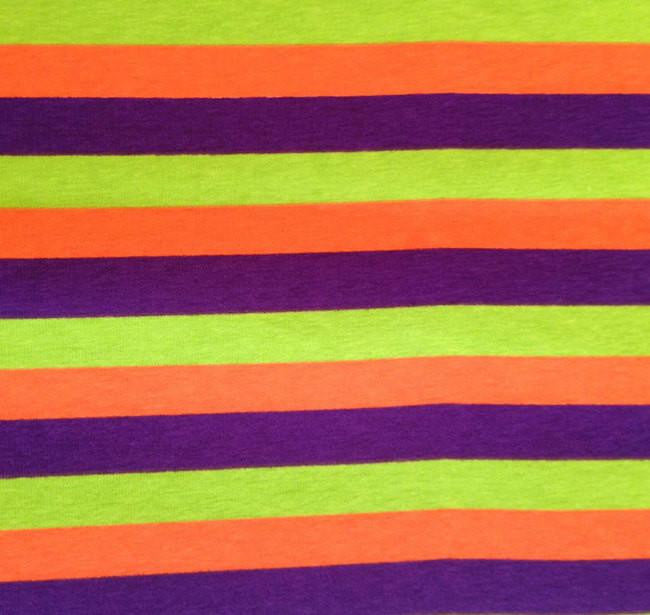 Purple Lime Orange Stripes on Cotton Lycra Knit Jersey Fabric