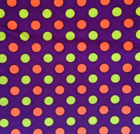 Lime Green and Orange Polka Dots on Purple Cotton Lycra Knit Jersey Fabric