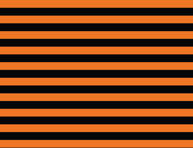 Orange and Black 1/2 Inch Stripes Cotton Lycra Knit Jersey Fabric