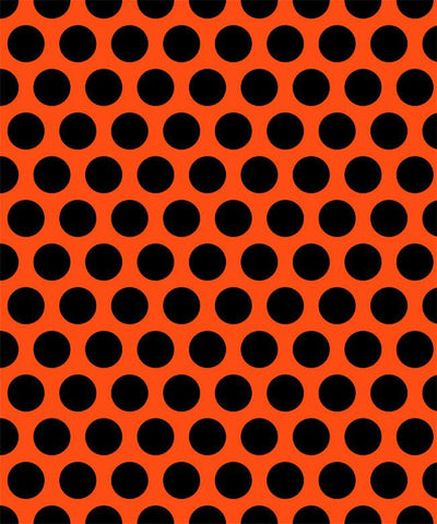 Black Polka Dots on Orange Cotton Lycra Knit Jersey Fabric