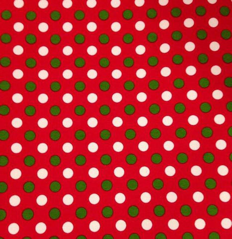 Green and White Polka Dots on Red Cotton Lycra Knit Jersey Fabric