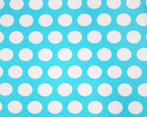 Big White 1 1/4 Inch Polka Dots on Light Blue Cotton Lycra Knit Jersey Fabric