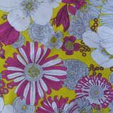 Fuchsia Yellow and White Flowers on Yellow Cotton Lycra Jersey Knit Fabric