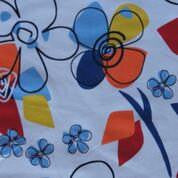 Blue and Gold Pencil Flowers on White Cotton Lycra Jersey Knit Fabric