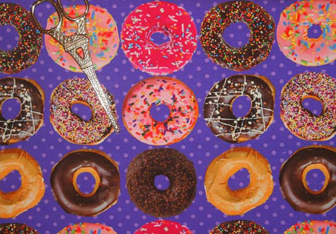 Assorted Donuts Organic European Cotton Lycra Knit Jersey Fabric
