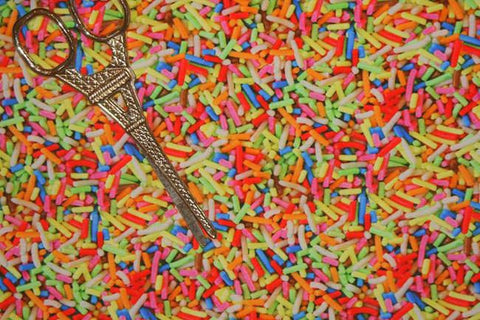 Rainbow Candy Sprinkles Organic European Cotton Lycra Knit Jersey Fabric