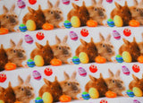 Easter Bunnies and Eggs Organic European Cotton Lycra Knit Jersey Fabric