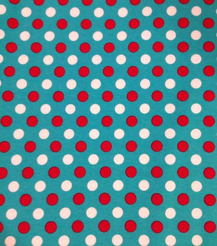 Red And White Polka Dots on Blue Cotton Lycra Knit Jersey Fabric