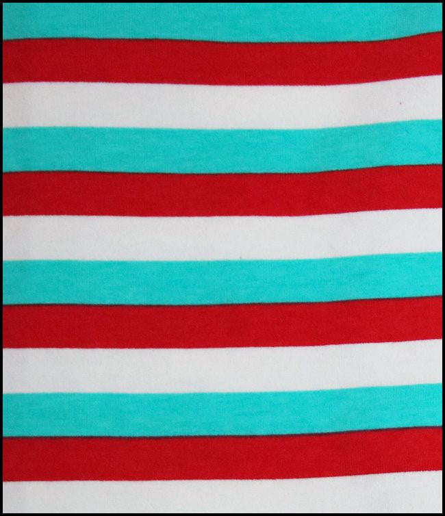 Red White And Blue Half Inch Stripes Cotton Lycra Knit Jersey Fabric