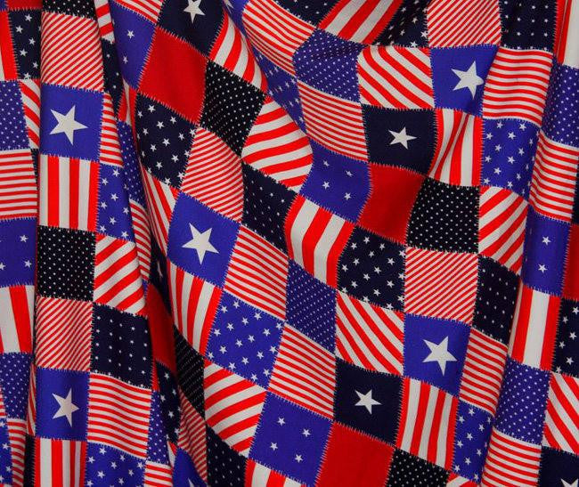 Patriotic Patchwork European Oeko-tex Certified Cotton Lycra Knit Jersey Fabric
