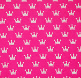 White Crowns on Pink Cotton Lycra Knit Jersey Fabric