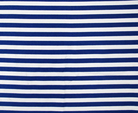Navy Blue and White Half Inch Stripes Cotton Lycra Knit Jersey Fabric