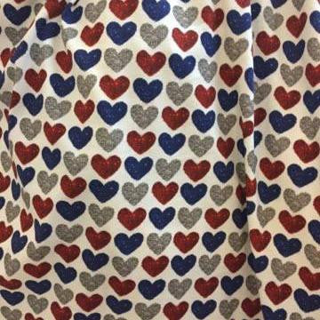 Patriotic Red, Blue, Silver Faux Glitter Hearts Oeko-tex Certified Cotton Spandex Knit Jersey Fabric