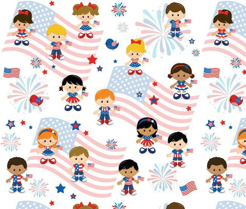 Patriotic 4th Of July Kids Oeko-tex Certified Cotton Spandex Knit Jersey Fabric