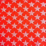 Knit Stars on Red, Pink, or Amber Oeko-tex Certified Cotton Lycra Knit Jersey Fabric