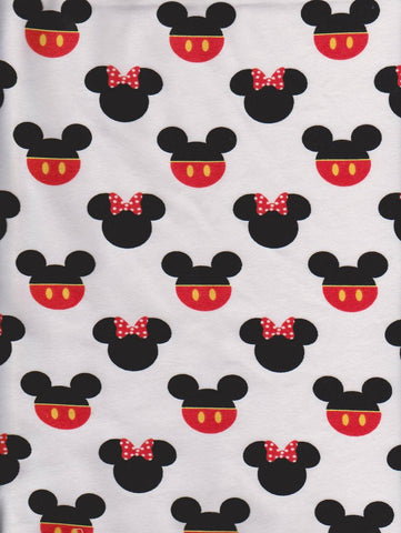 Mickey and Minnie Inspired Heads on WHITE Cotton Lycra Jersey Knit Fabric