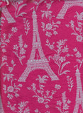 Vintage Paris on BLACK or FUCHSIA Medium Weight Cotton Lycra Jersey Knit Fabric