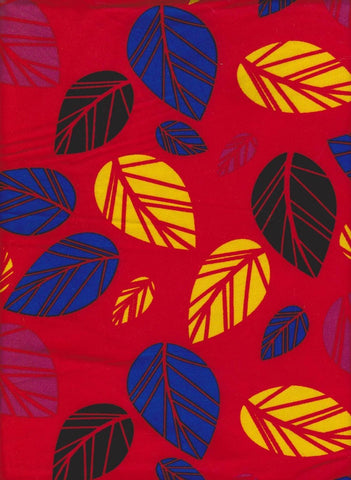 Colorful Leaves on Red Double Brushed Poly Lycra Jersey