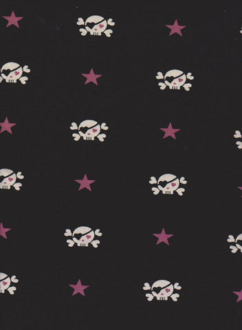 Skulls and Stars on Black Cotton Lycra Jersey Knit Fabric