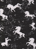 Grunge Unicorn on BLACK Medium Weight Cotton Lycra Jersey Knit Fabric